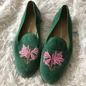 Stubbs & Wootton Green Lily Loafers Size 7.5
